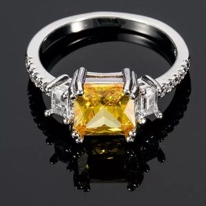 Princess Cut Citrine Sterling Silver Ring